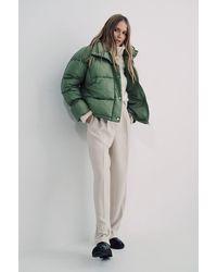 NA-KD Green Elastic Detail Padded Jacket