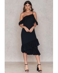 NA-KD | Cold Shoulder Thin Strap Frill Dress | Lyst