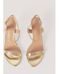 NA-KD Gold Two Way Ankle Strap Heels - Metallic