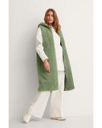 NA-KD Green Long Teddy Vest