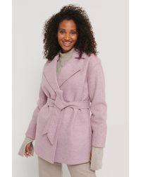 NA-KD Pink Wool Blend Belted Short Coat
