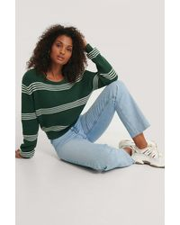 NA-KD Green Striped Cropped Knitted Sweater