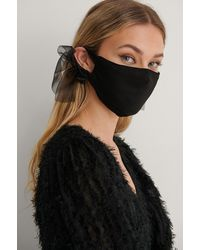 NA-KD Accessories Big Bow Face Mask - Zwart