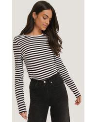 NA-KD Multicolor Long Sleeve Striped Tee - Black