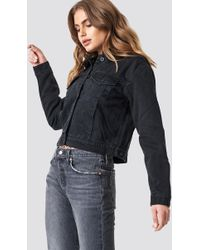 Mango - Borg Jacket Black Denim - Lyst
