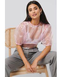 NA-KD Puff Sleeve Blouse Pink