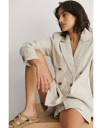 NA-KD Beige Double Breasted Linen Blazer - Natural