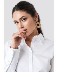 NA-KD - Straw Braided Hexagon Earrings Brown - Lyst
