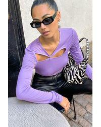 NA-KD Trend Haut à découpes avec anneau - Violet