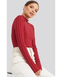 NA-KD - Ribbed High Neck Knitted Sweater - Lyst