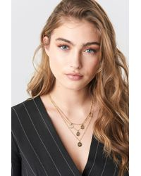 Mango - Zebra Necklace Gold - Lyst