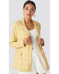NA-KD Classic Plaid Double Breasted Blazer - Gelb