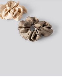 NA-KD Double Pack Shiny Satin Scrunchies - Multicolore