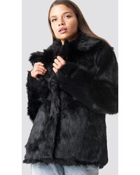 NA-KD Trend Faux Fur Collar Jacket - Schwarz