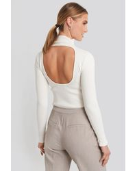 NA-KD Open Back High Neck Knitted Sweater - Multicolore