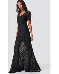 NA-KD Sheer Glitter V-Neck Maxi Dress - Noir