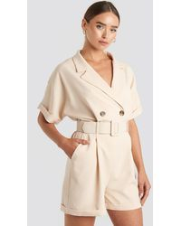Trendyol Front Button Belted Playsuit - Naturel