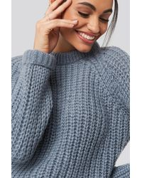 NA-KD Round Neck Chunky Sweater - Grijs