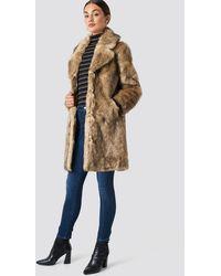 NA-KD Faux Fur Collar Long Jacket - Bruin