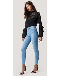 NA-KD - Skinny High Waist Raw Hem Jeans - Lyst