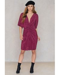 NA-KD - Pleated Knot Front Dress - Lyst