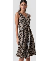 Mango - Animal Midi Dress Brown - Lyst