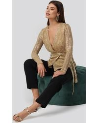 NA-KD Party Sequin Overlap Blouse - Metallic