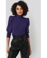 Trendyol Puff Sleeve Corded Knit Top - Lila