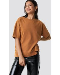 NA-KD - Washed Out Oversize Tee Tan - Lyst