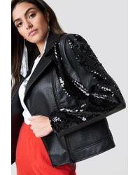 NA-KD - Oversized Sequin Faux Leather Jacket - Lyst