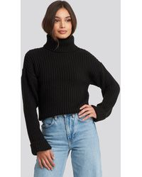 NA-KD Ribbed Knitted Turtleneck Sweater - Noir