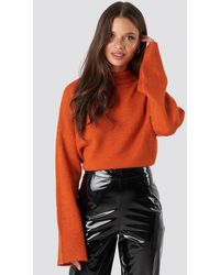 NA-KD Orange Wide Sleeve Round Neck Knitted Jumper