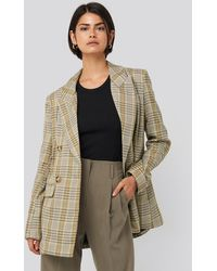 NA-KD Plaid Double Breasted Oversized Blazer - Vert