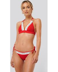 Calvin Klein Red Fixed Triangle Rp Bikini Top