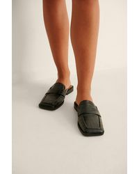 NA-KD Shoes Loafers Instappers Met Vierkante Neus - Zwart
