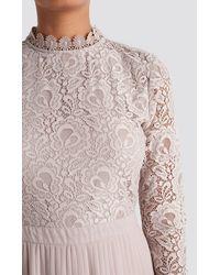NA-KD Boho Crochet Detail Pleated Dress - Pink