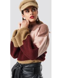 NA-KD Color Striped Balloon Sleeve Knitted Sweater - Multicolore