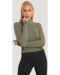 NA-KD Green Ribbed Polo Cropped Knitted Sweater