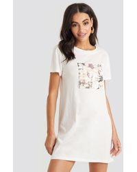 NA-KD - Collage T-shirt Dress White - Lyst