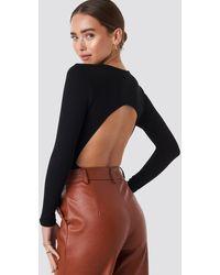 NA-KD - Black Open Back Bodysuit - Lyst