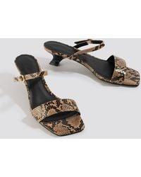 NA-KD Beige Asymmetric Heel Squared Sandals - Natural