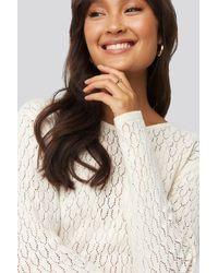 NA-KD Lace Stitch Round Neck Sweater - Blanc