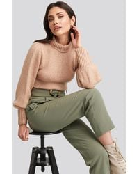 NA-KD Puff Sleeve Wide Neck Knitted Sweater - Roze