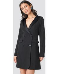 NA-KD Satin Collar Blazer Dress Black