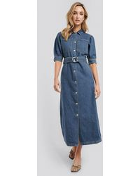 NA-KD Trend Puff Sleeve Belted Denim Dress - Blauw