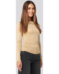 NA-KD - Side Ruched Long Sleeve Top - Lyst