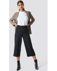 NA-KD - Wide Cropped Trousers Black - Lyst