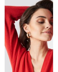 NA-KD - Feather Hoop Earrings Gold - Lyst