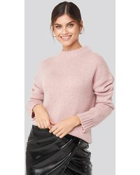 NA-KD Adorable Caro x Wide Rib Knitted Sweater - Pink