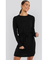 NA-KD Drawstring Jersey Dress - Noir